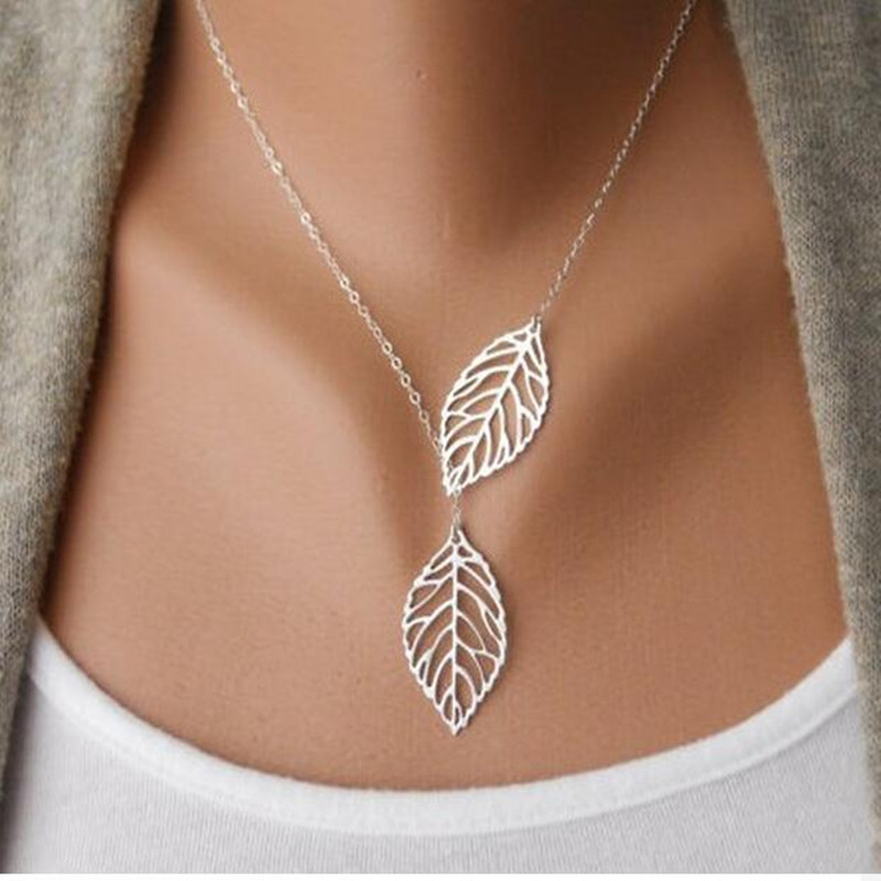 Silver plated chain long leaf strip pendants women necklaces ngbay aloadofball Gallery
