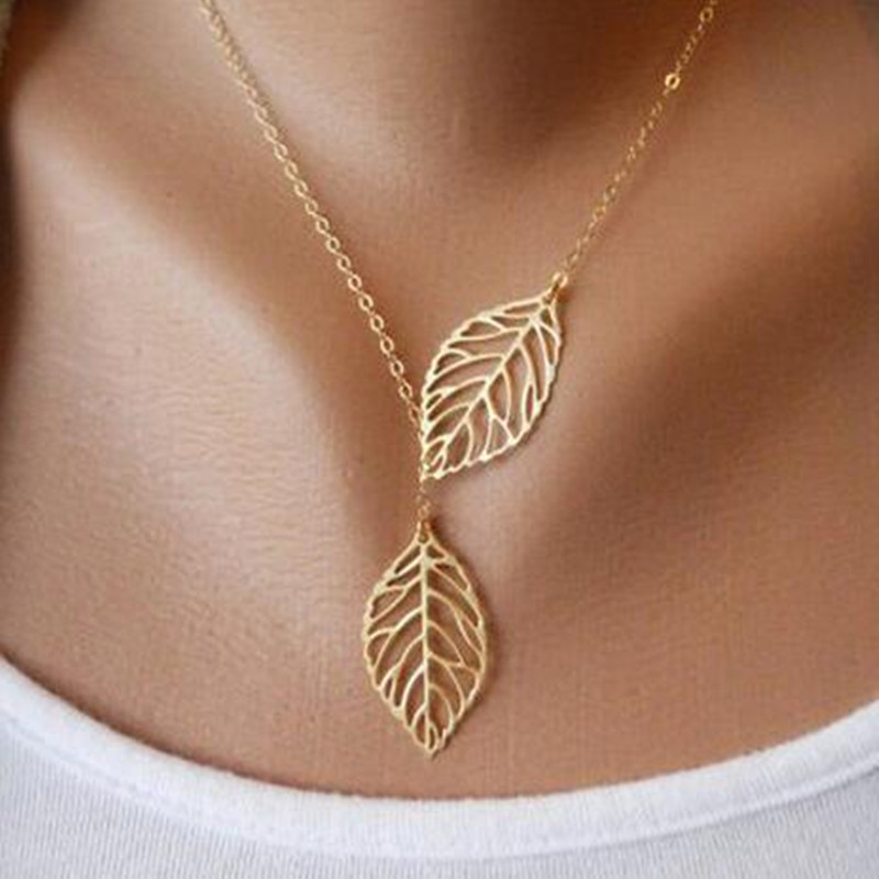 Silver plated chain long leaf strip pendants women necklaces ngbay mozeypictures Choice Image